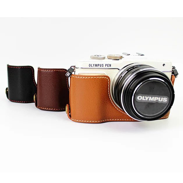 6a6ab6826cbb0 Luxus Echtes Leder Kamera Tasche für Olympus Pen Lite E PL7 E PL8 E ..
