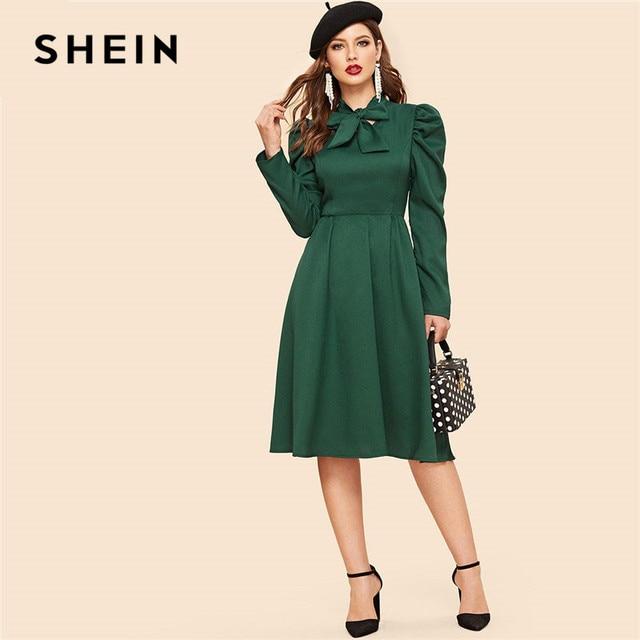 eff9182b85 SHEIN Green Bow Tie Neck Gigot Sleeve Women Vintage Knee-length Dress 2019  Spring Ladies