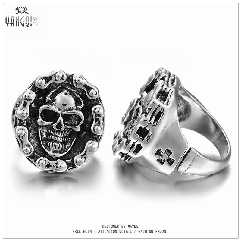 ᗔHOMMES Gothique Fleur de Crâne Antique Alliage D argent Biker ... 8badad73f34