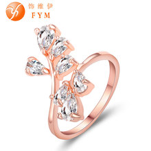 New Luxury Plant Ring Rose Gold Color Zircon Crystal Fashion Women Cocktail Finger Rings for Party Gift Wedding Girls new classic luxury fashion ring 4 valve flower gold color crystal adjusted ring women cz diamond finger rings for party wedding