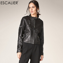 ESCALIEA Women Sheepskin Jacket Classic Female Leather Jacket Ladies Zippers Mandarin Collar Genuine Leather Coat