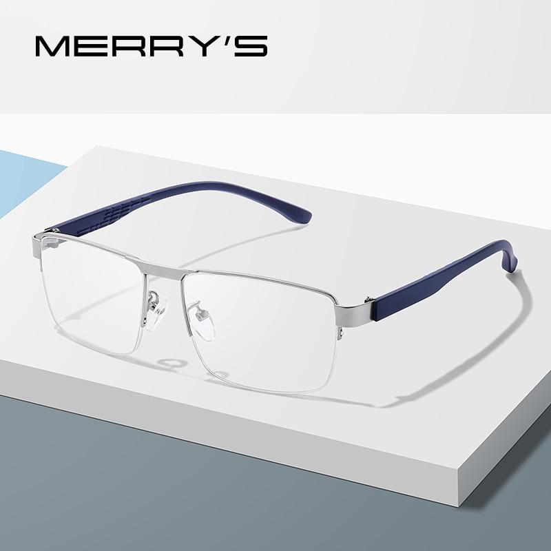 MERRYS DESIGN Men Titanium Alloy Glasses Frame Male Square Ultralight Eye Myopia Prescription Eyeglasses TR90 Legs S2023