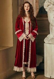Image 3 - Conjunto de robe romântico para mulheres, camisola de inverno, vestido de noite, roupa de noiva elegante, vermelho, vintage