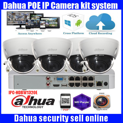 Dahua 4CH NVR4108 8P Video Surveillance System with 4pcs DH IPC HDBW1320E IP Camera 3 0MP