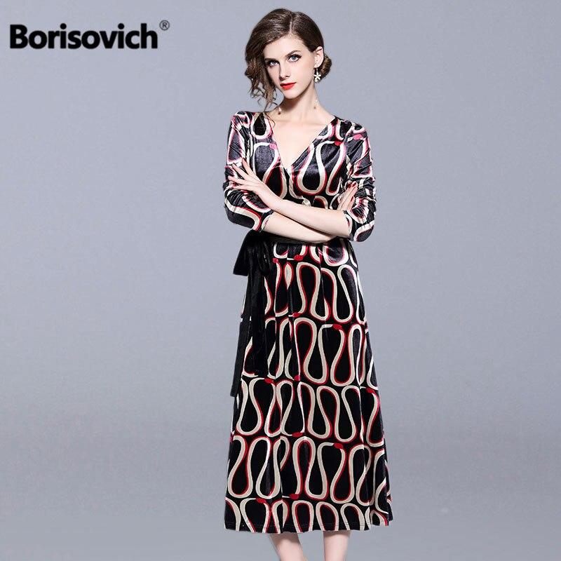 Borisovich dames robe de soirée élégante nouveau 2018 automne mode Vintage imprimé v-cou a-ligne Slim femmes décontracté longues robes N270