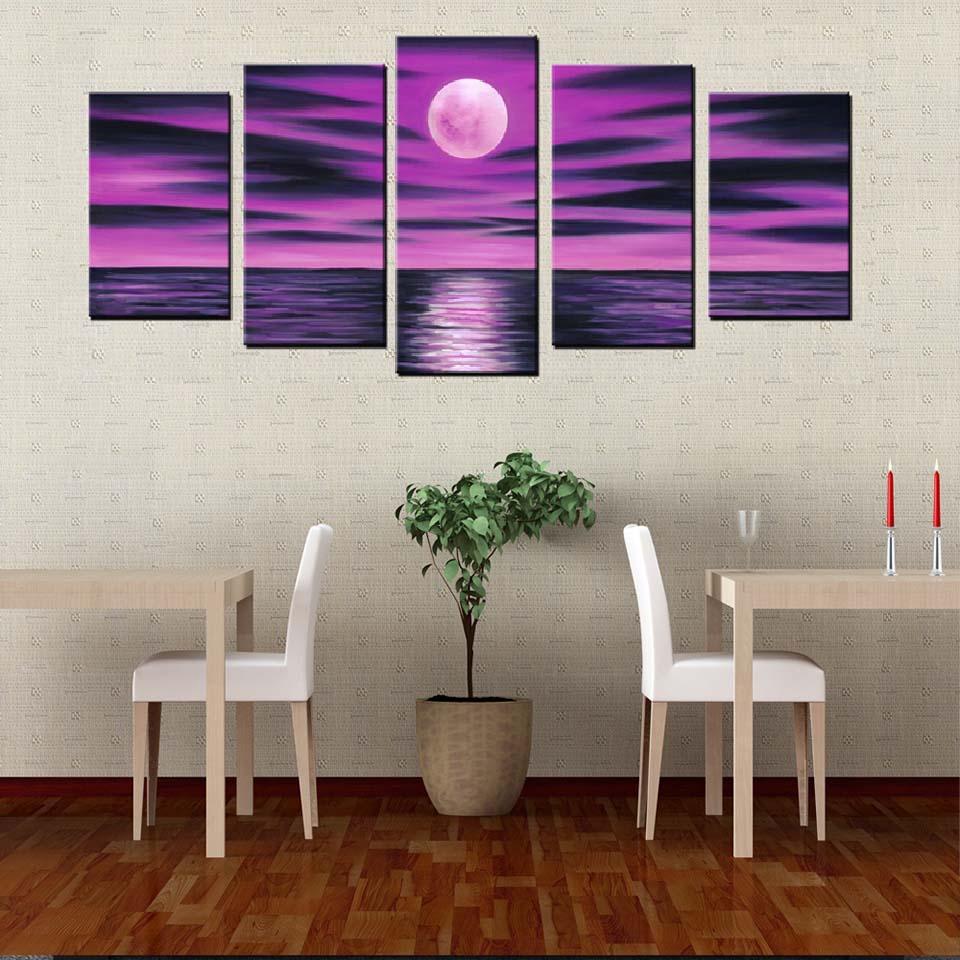 Direct Selling HD Prints Modern Poster 5 Pcs Moon Lake