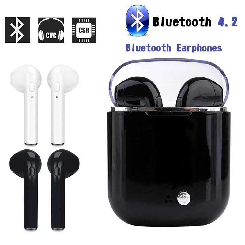 I7S Mini Bluetooth Earphone Wireless Earbuds Stereo Sports Headphones In Ear Headset With Charging Box I7S For Iphone X 8 ovevo q62 dual wireless binaural bluetooth earphone mini in ear headset portable charging cabin sports headphones for smartphone