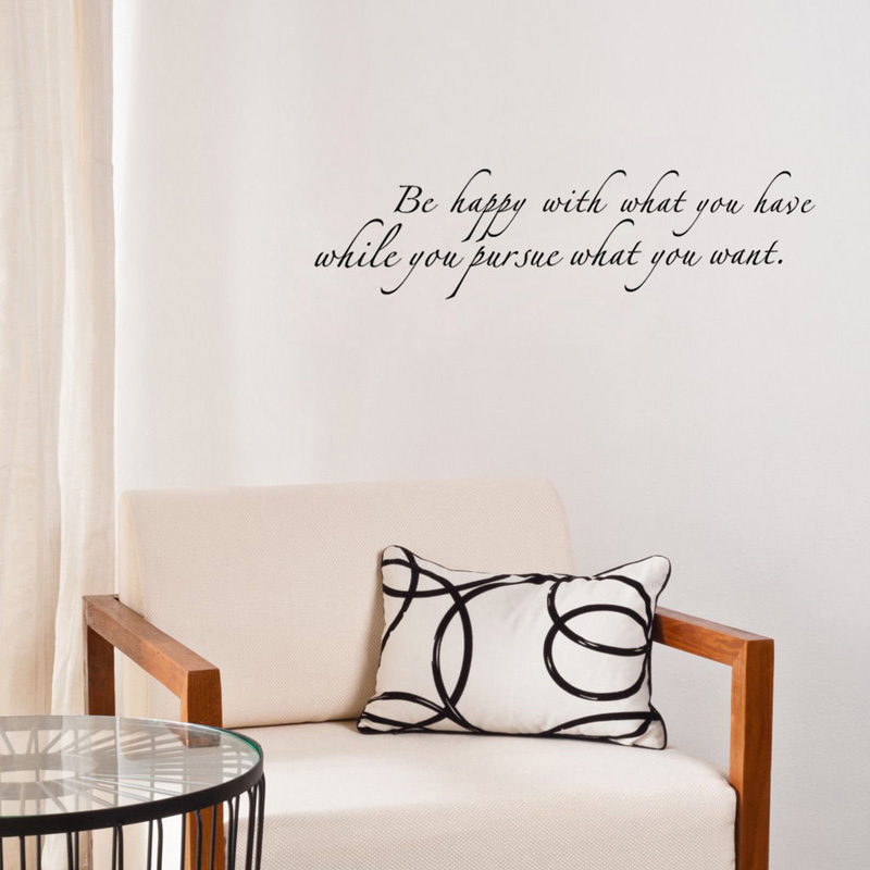Be Happy With What You Have Diy Art Wall Sticker Home Decor For Living Room Simple Sentence Wall Mural