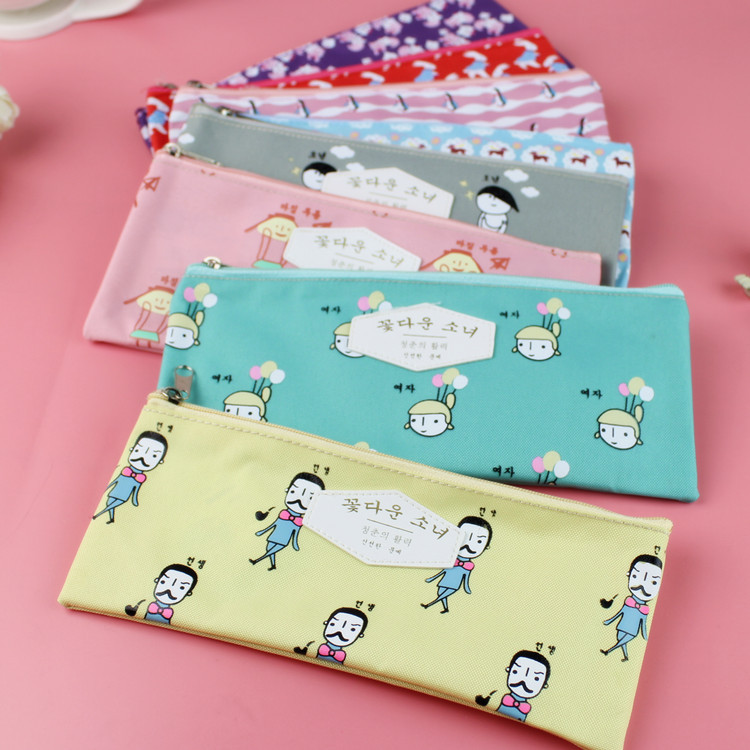все цены на  20pcs/lot Fashion style Cartoon Oxford pen pouch pencil case zipper pen bag for school Stationery storage bag office supplies  в интернете