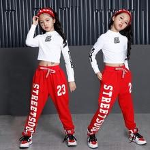 Girls corea del algodón salón de baile Jazz Hip Hop danza competición traje  Tops camisa pantalones para niños ropa de baile ropa 555e4b658b7