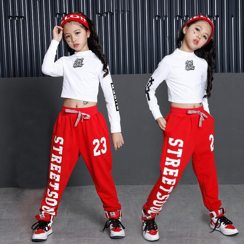 974d9f39ce8a6 Los niños Hip Hop ropa de baile de Jazz traje para niñas sudadera Cropped  Top camisa pantalones de baile de salón Streetwear