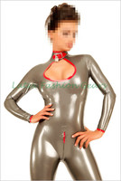New arrival silver latex catsuit 100% natural rubber bodysuit custom made plus size