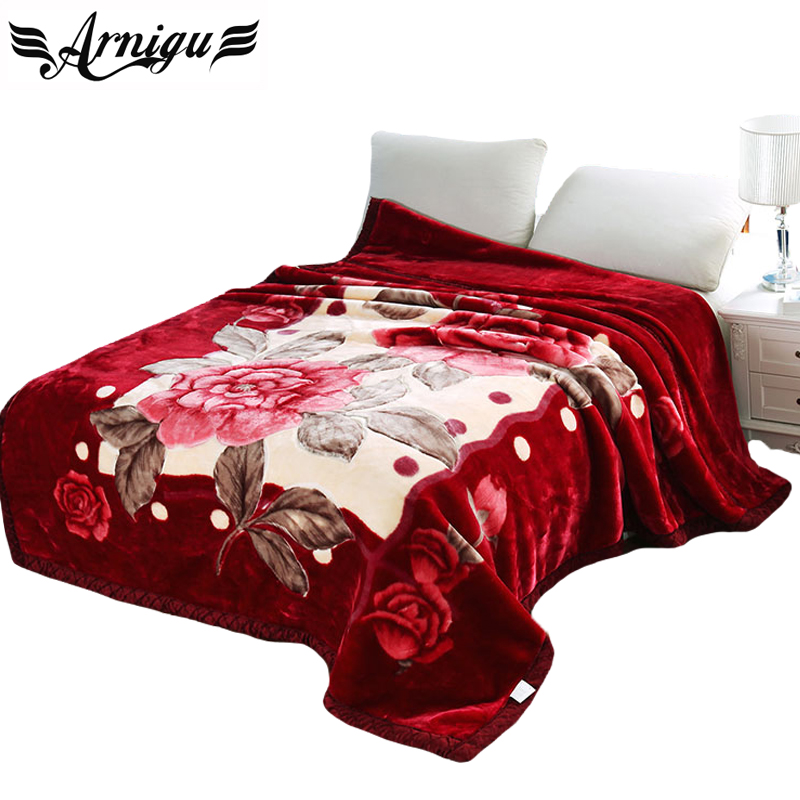 ФОТО Arnigu Floral print thick Blankets 150x200cm 180x220cm 200x240cm Double face Raschel blanket winter Bedsheet warm Throws/Quilt