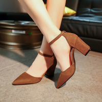 Summer New Pointed Thick Chunky High Heels Closed Toe Pumps With Buckle Ankle Wraps Sweet Sandals