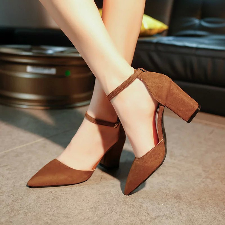 Summer new pointed thick chunky high heels closed toe pumps with buckle ankle wraps sweet sandals women pink black gray 34-40 ankle strap chunky elegant cool designer pointed toe pink high heels sandals women fashion 2018 summer shoes cross pumps closed