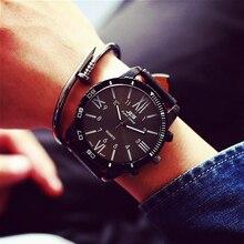2017 Gran Dial de Reloj de Cuarzo de Los Hombres de Primeras Marcas de Lujo Relojes Militar Hombres de Cuarzo Reloj de pulsera Deportivo de Cuero Negro Masculino Del Relogio