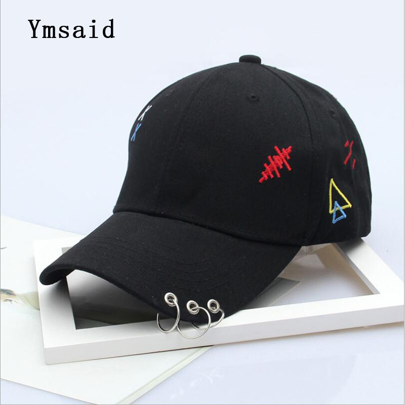 Mens Snapback Hats Solid Color Iron Ring Decor Cotton Hats Women Kpop Simple Baseball Caps 2017 New Fashion Unisex Accessories 2017 winter unisex solid ring safety pin
