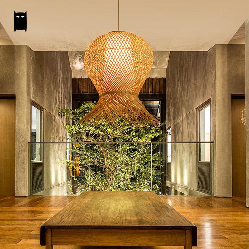Bamboo Wicker Rattan Pendant Light Fixture Asia Rustic