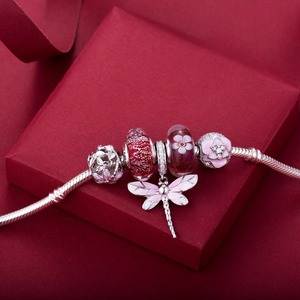 Image 4 - Rosa libélula pingente 925 prata esterlina contas encantos ajuste pulseiras nunca mudar cor DDBJ018 G