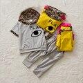 Новый 2017 Детская Одежда Девочка С Коротким Рукавом Большие Глаза Детей Случайные Костюмы Детская Одежда Леопарда шляпа футболка + брюки Одежда наборы