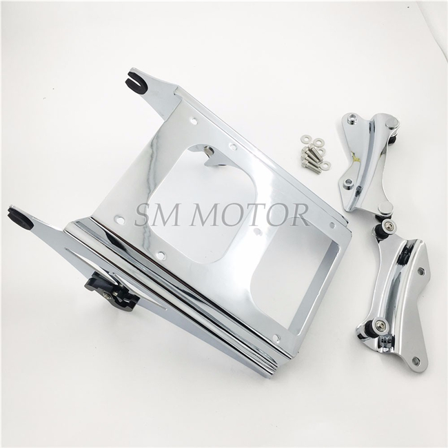 Motorcycle moto Chrome 4 Point Docking Hardware Kit With Luggage Rack For Harley Touring 14 15 16 Electra Glide Road Glide king partol black car roof rack cross bars roof luggage carrier cargo boxes bike rack 45kg 100lbs for honda pilot 2013 2014 2015