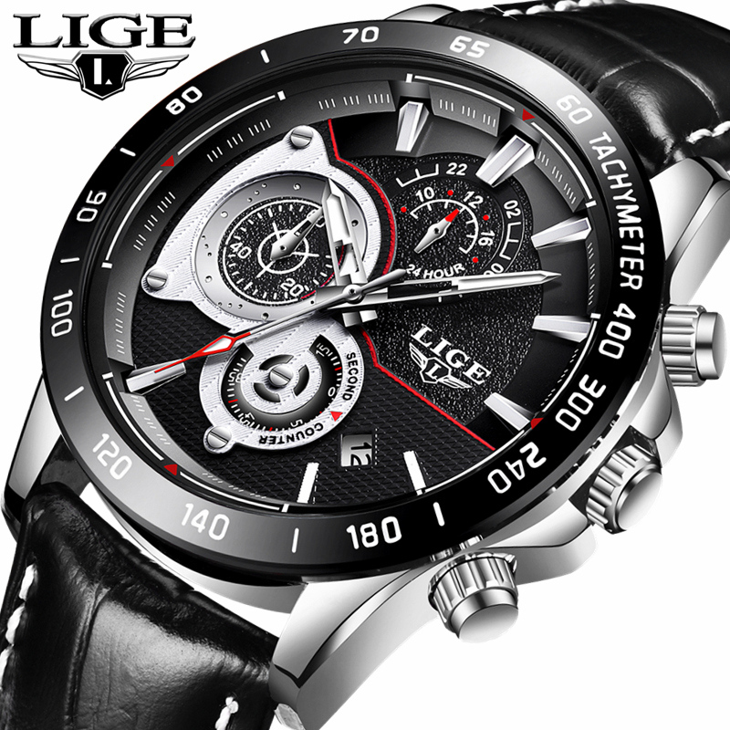 LIGE Mens Watches Top Brand Luxury Business Quartz Watch Men Fashion Casual Waterproof Leather Sports Watches Relogio Masculino цена
