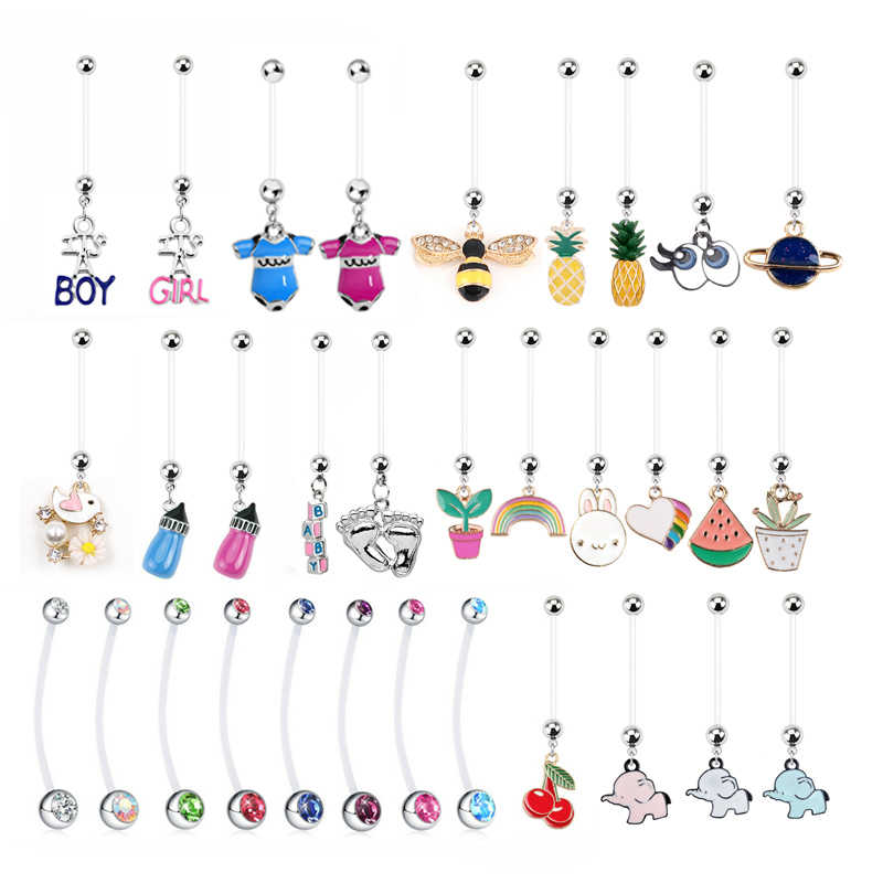 1PC Mix Baby Feet Belly Button Rings Piercing Navel Nombril Fashion Women Pregnant Navel Piercing Earring Sexy Body Jewelry