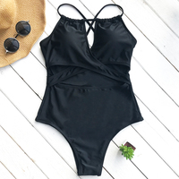 Cupshe Classic Romance Solid One Piece Swimsuit Deep V Neck Bikini Set Padded Ladies Bathing Suit