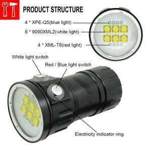 Image 4 - צלילה 20000Lumens 6x9090 לבן + 4xRed + 4xBlue LED צלילה לפיד אור מתחת למים וידאו צלילה פנס מנורת 18650 סוללה מטען