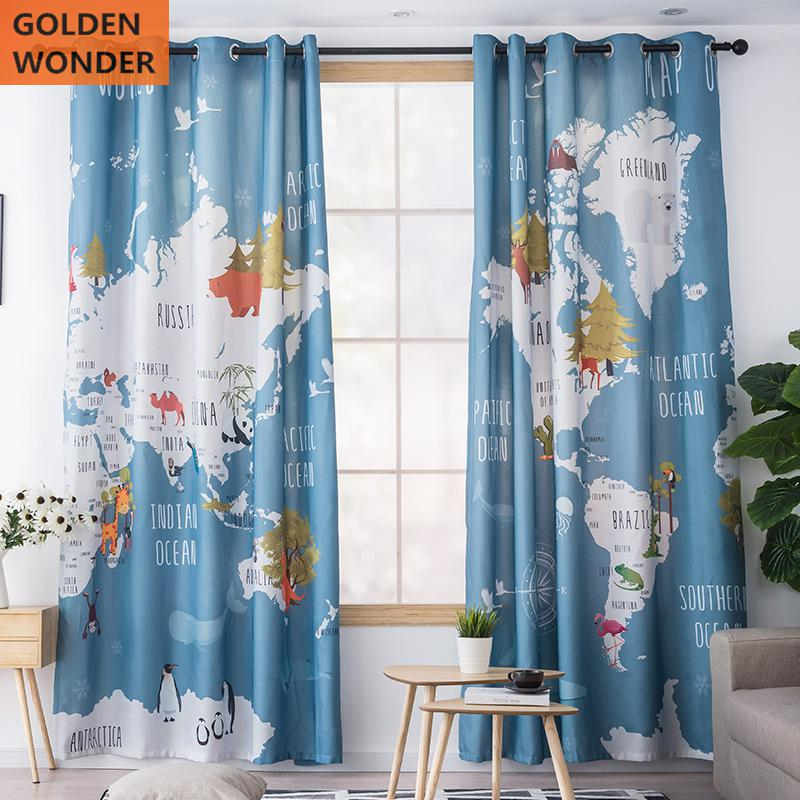 Colorful Animal World Map Children Printing Customized Bedroom Curtain Cartoon Living Room Study Fabric Blue Color