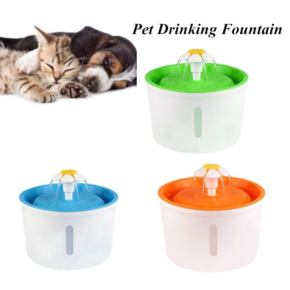 купить Upgraded Automatic 1.6L Flower Style Dog Cat Kitten Water Drinking Pet Fountain Pet Bowl Drink Dish Filter Showing Water Level онлайн