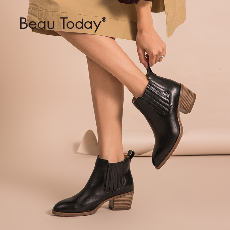 BeauToday Women Chelsea Boots Brand Genuine Calf Leather Pointed Toe Lady Ankle Boots High Heel Shoes