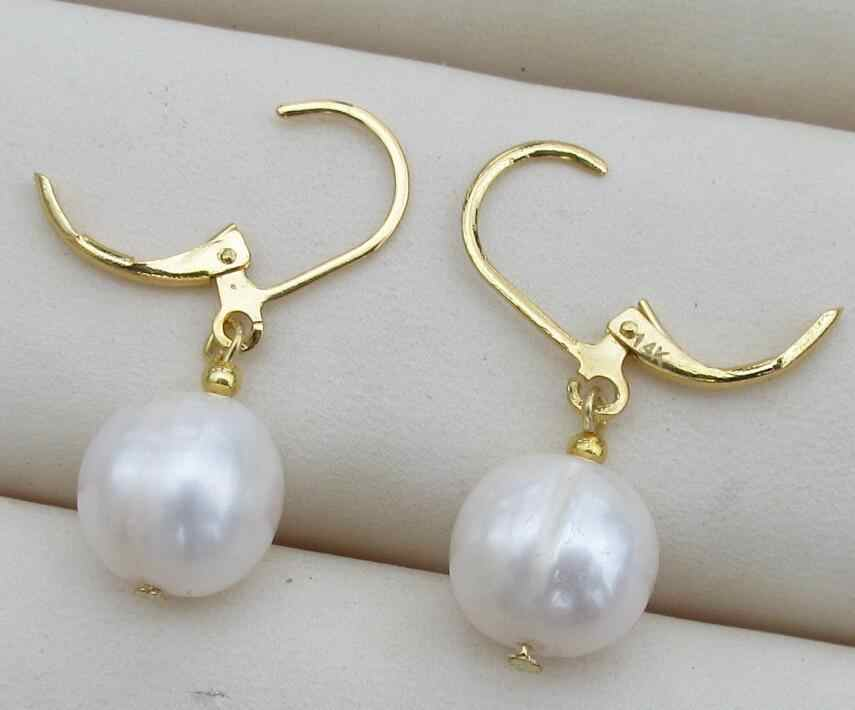 HOT AAA+8.5-9MM NATURAL ROUND SOUTH SEA GENUINE WHITE PEARL EARRING 14k/20