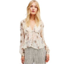 Floral Print V Neck Chiffon Blouse Casual Loose Sexy Women Blouse Shirt Ruched Button Chic Female Shirt Tops For Wholesale