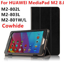 Case Cowhide For Huawei MediaPad M2 8.0 Genuine Protective Smart cover Leather Tablet PC For HUAWEI M2-801W/L M2-803L Protector