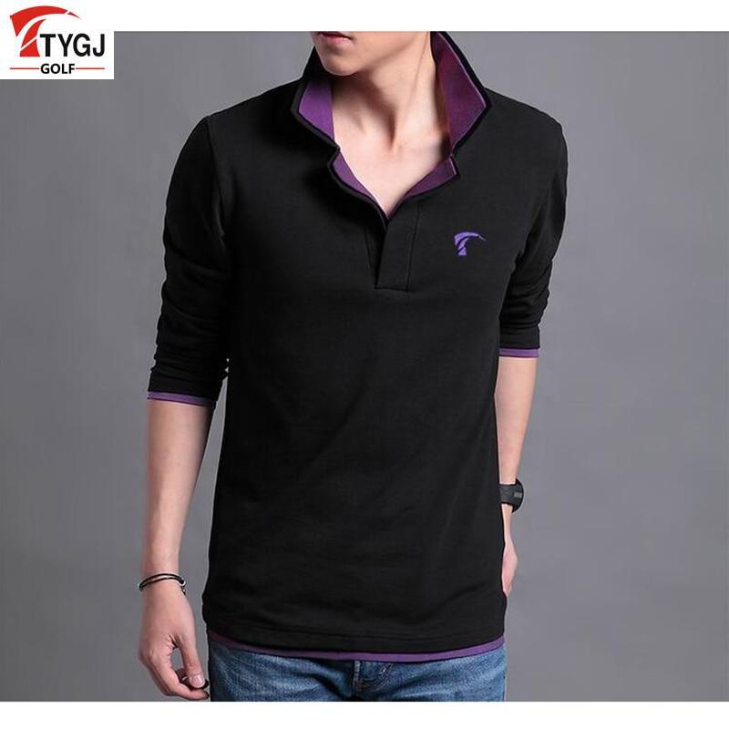 Ajuste de golf ttygj mens de la marca al aire libre camisas de secado rápido de