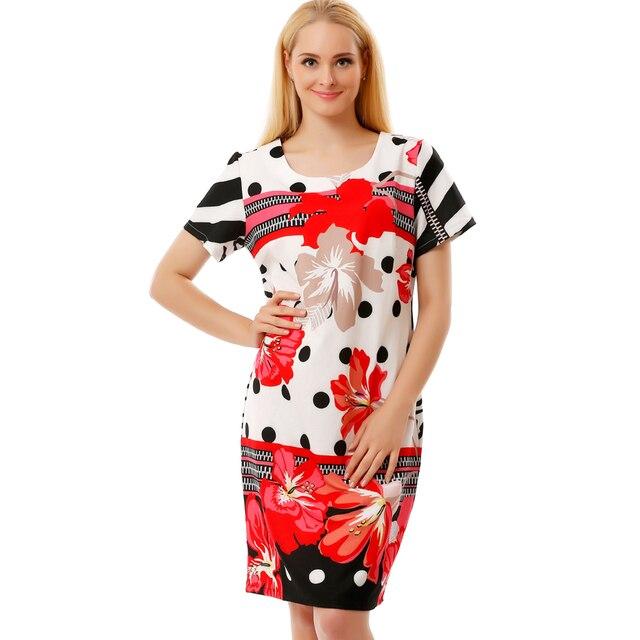 BFDADI 2016 Новые Летние Цветы Платье Высокое Качество Женщины Свободные Мода Сладкий Платье Дамы Колен Плюс Размер Платья 2837-3