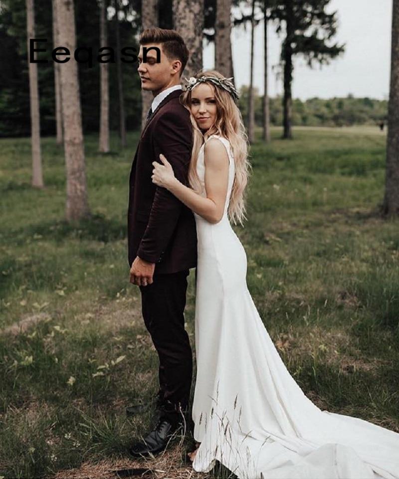 Garden Wedding Gowns: Simple Vintage White Ivory Mermai Wedding Dresses Stretch