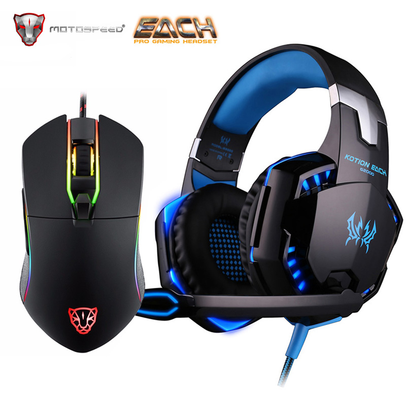 Kotion Ogni G2000 Gaming Cuffia Stereo Gamer Professionale Surround LED Auricolare per Computer Mouse Motospeed V30 3500 Regolabile