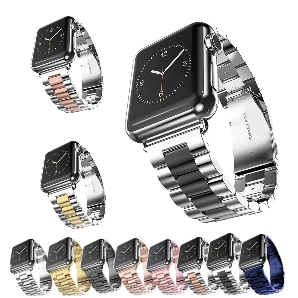 цена Stainless Steel strap For Apple Watch 4 band 44mm 40mm 42mm 38mm watchband Link Bracelet wrist belt iwatch series 4/3/2/1 correa