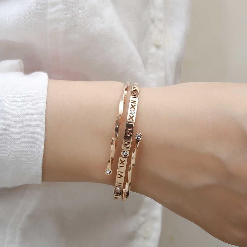 Para mujeres moda joyería número romano Pulsera Brazalete-Oro Rosa