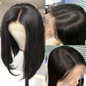 Image 3 - Rosabeauty, pelucas de cabello humano con Frontal de encaje liso de Bob Remy de Color Natural, peluca Frontal de encaje para mujeres negras