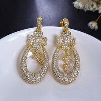 Beautiful flower drop earrings micro pave zirconia crystal aretes women elegant earring Jewelry luxury statement jewellery