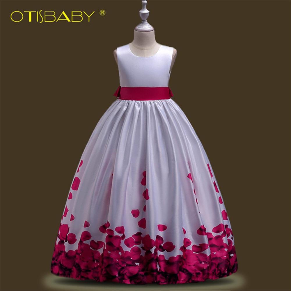 Kids Petal Prints Elegant Dresses For Girls Fashion