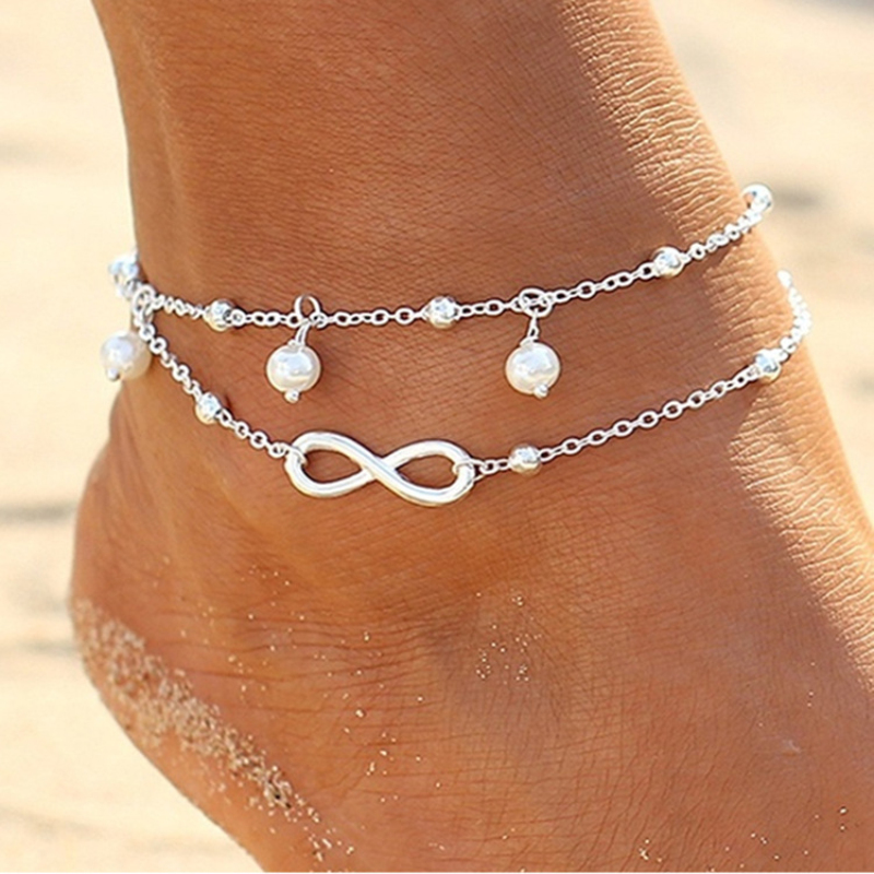 LZHLQ Maxi Letter Beads Anklet Bracelet 2017 Fashion Brand Jewelry Multilayer Foot Chain Plating Metal Vintage Anklets For Women