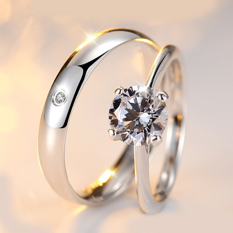 CC Lovers Couple Rings For Women And Men Classic Loves Promise Bijoux Ring S925 Sterling Silver Wedding Bridal Jewelry CC846