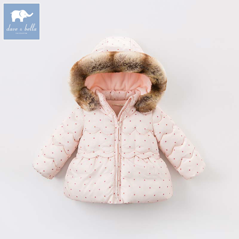 DBZ6506 dave bella winter infant baby girl fashion Jackets toddler girls Hooded outerwear children cute hight quality coat winter hooded jackets for newborns girl fashion 2017 warm down coat outerwear toddler baby clothing infant clothes high quality