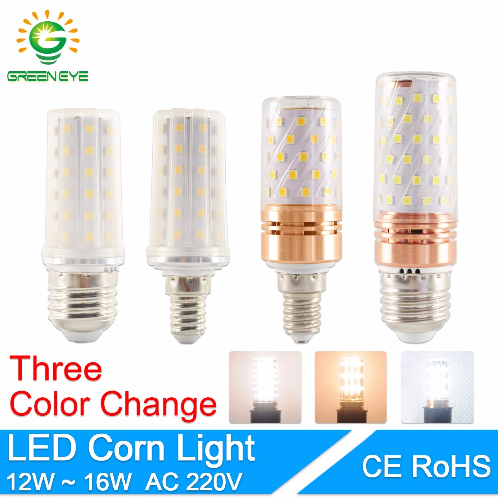 GreenEye E27 LED Bulb E14 LED Lamp AC 220V 240V 6W 12W 14W 16W SMD2835 Corn Bulb Chandelier Candle LED Light For Home Decoration 3w e14 home candle bulb led light lamp ac 85 265v 6pcs