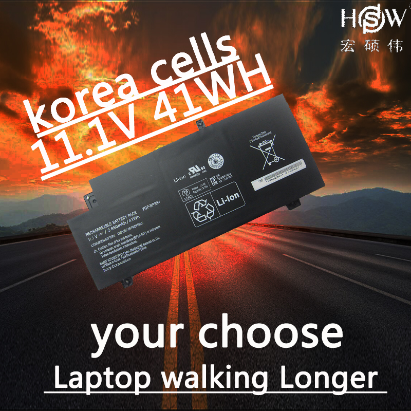 HSW New VGP-BPS34 Laptop Battery For SONY Vaio Fit 15 Touch SVF15A1ACXB SVF15A1ACXS SVF14A BPS34 VGP-BPL34 bateria все цены
