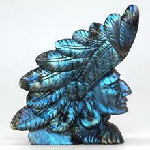 4.2 Natural Flash Labradorite Carved Indians Chief Statue Home Office Decor